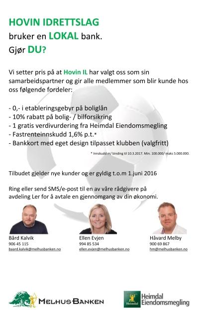 Melhusbankens tilbud til Hovin IL 2016